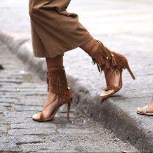 Brown fringe heels